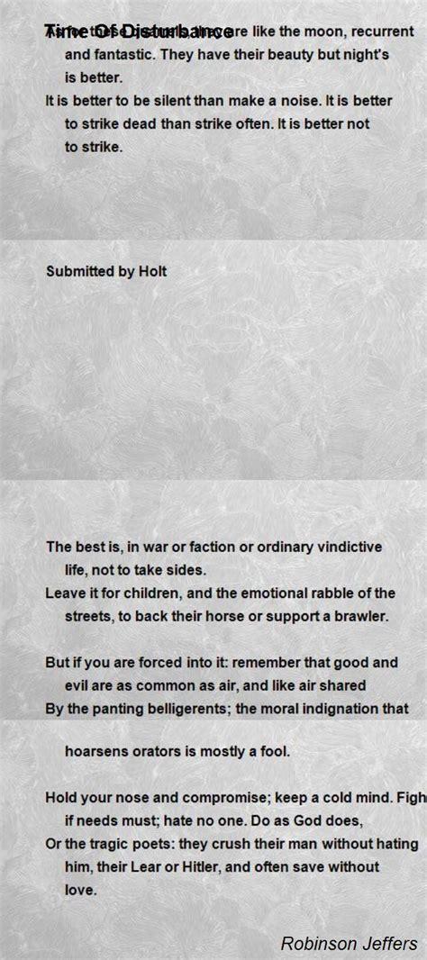 time  disturbance poem  robinson jeffers poem hunter