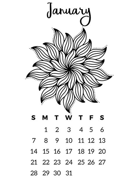 Free Coloring Page 2018 by Free Printable 2018 Calendar Mandala Coloring Pages