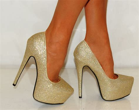 high heels sizes womens gold glitter sparkly court high heels shoes