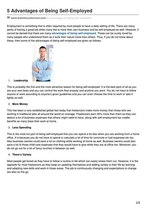 Advantages And Disadvantages Of Being Self Employed Essay by 5 Advantages Of Being Self Employed By Teamfocus Issuu