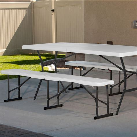 half picnic table bench lifetime 6 ft fold in half picnic table with benches