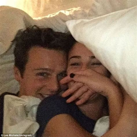 bed selfie lea michele cuddles up to bff jonathan groff for bed
