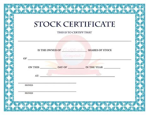 stock certificates templates 41 free stock certificate templates word pdf free