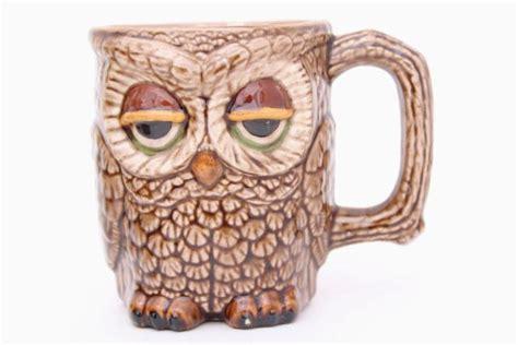 vintage owl tree mug rack  handmade ceramic owls