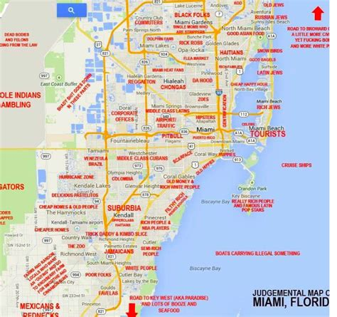 miami map this quot judgmental map quot of miami is hilarious and spot on