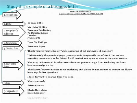 Business Letter Reference Line Format business correspondence ppt