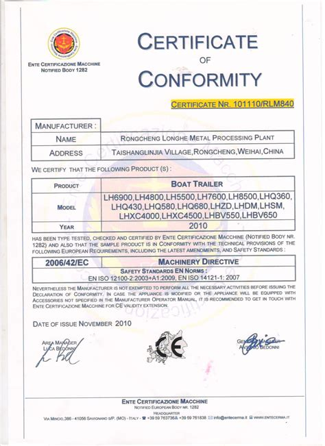 boat certification ce certificate boat trailer rongcheng longhe vehicle co