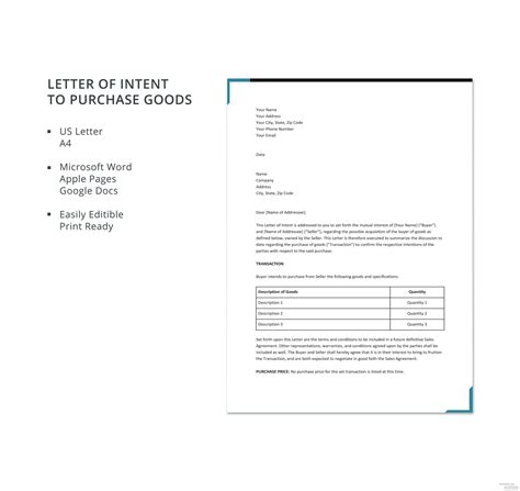 letter intent purchase goods template microsoft