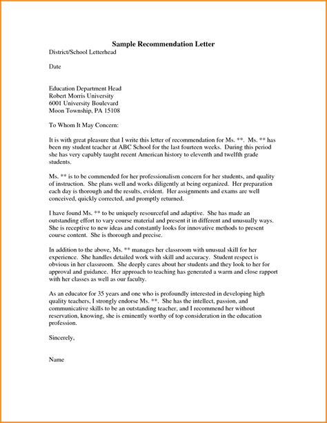 Recommendation Letter For Education Graduate School 5 Letter Of Recommendation Format For Graduate School