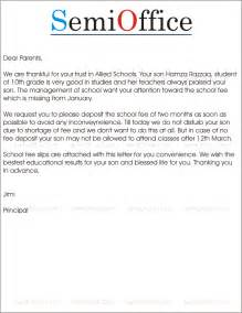 sample letter to parents for fees submission