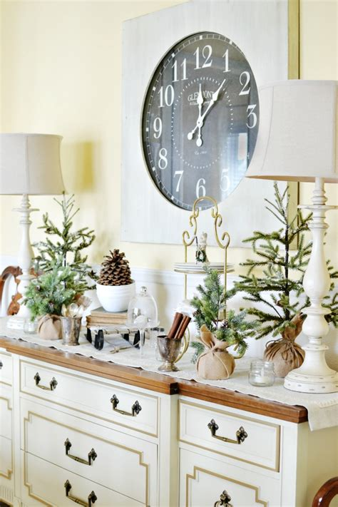 Dining Room Table Decor For Winter Winter Buffet Table In The Dining Room At The Picket Fence