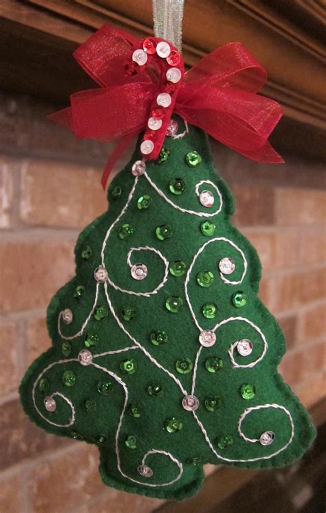 handmade felt tree ornament by beauxtails on etsy
