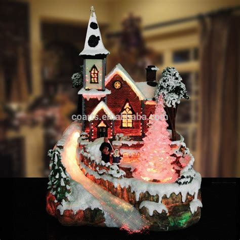 custom resin christmas village scene fibre optic led light