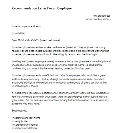 recommendation letter from employer sle reference letter from previous employer letter