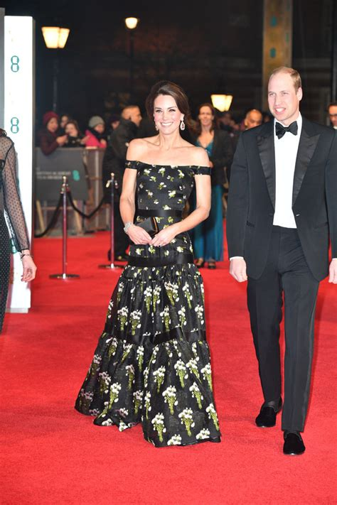 prince william and kate middleton at the bafta awards 2018 bafta red carpet kate middleton in alexander mcqueen