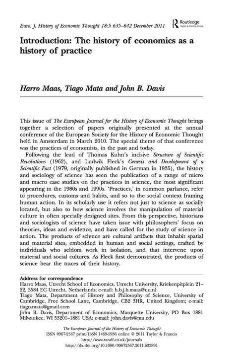 Uni Essay Intro by Introduction The History Of Economics As A History Of Practice Tiago Mata
