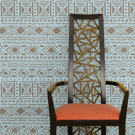 tribal pattern room geometric african allover wall stencil royal design