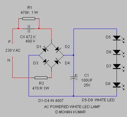 ac led capacitor 220v ac powered white led l circuit diagram world