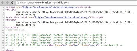 blackberry mobile official website blackberry mobile website hacked to mine monero via coinhive