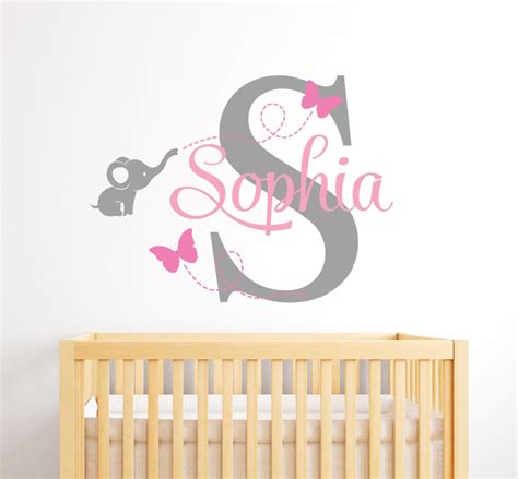 room wall decal customize name elephant butterfly wall stickers for room personalized boys bedroom