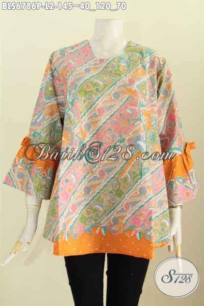 Model Pake blus batik size l model lengan pake pita bajubatik murah