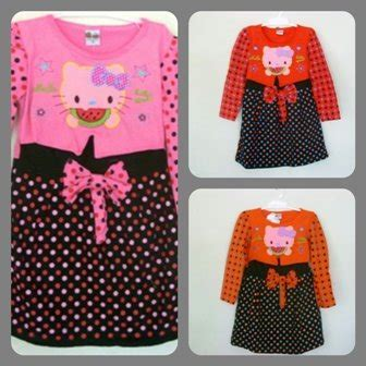 Dress Pink Anak Hello jual promo dress baju anak hello polka baru gaun
