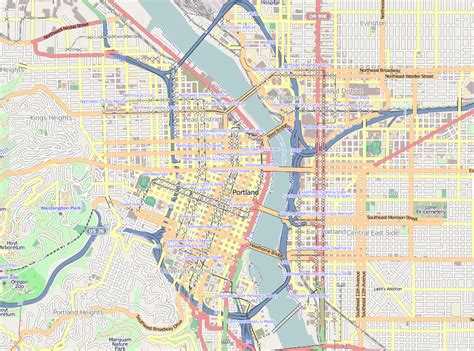 portland on map of oregon map of downtown portland oregon