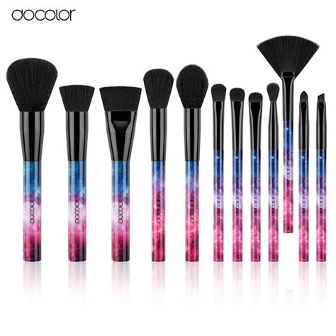 No Brand 12pcs Pastel Brush Set docolor 12pcs galaxy makeup brushes professional make up brushes sky handle synthetic hair