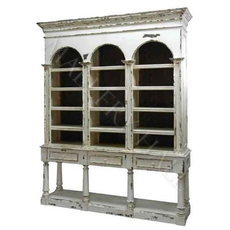 solidwood bookcase ebay solid wood 3 arched distressed white console bookcase ebay