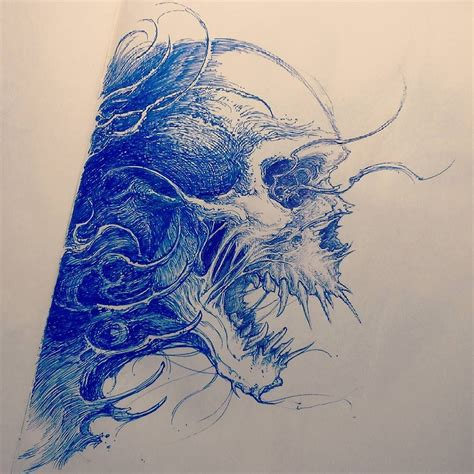 draw tattoo with pen skull sketch tattoosketch by nekronikon skull