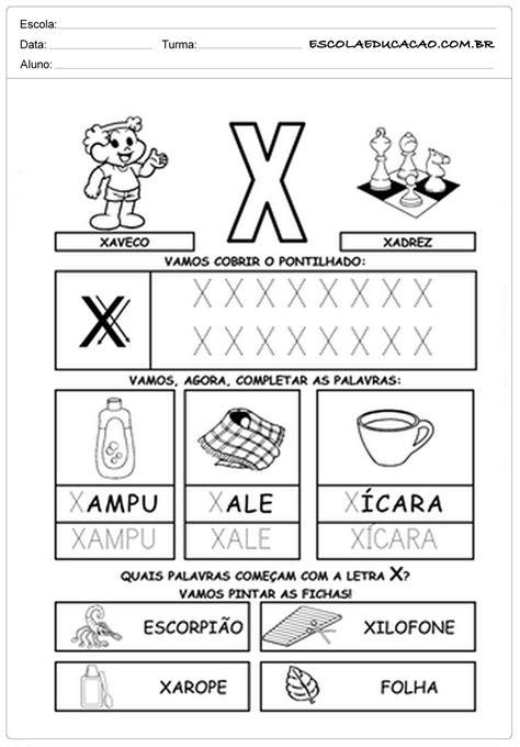 """Atividades de Alfabetização com a letra """"X"""" - Para Imprimir"""