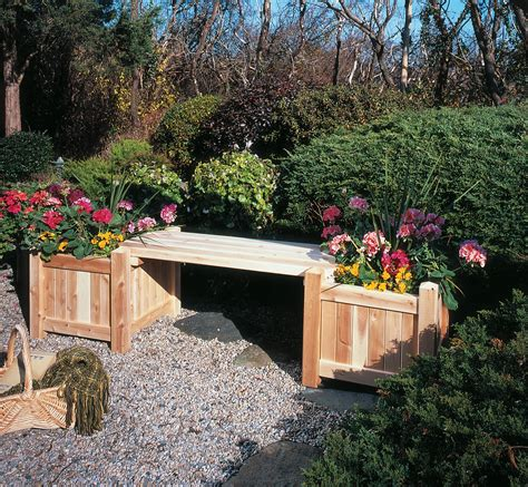 garden planter bench rustic western red cedar framed planter boxes and benches