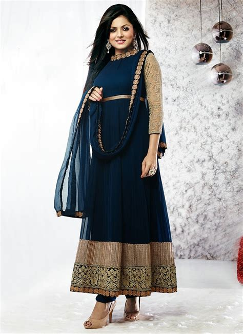 long sut attractive blue patch work long anarkali suit