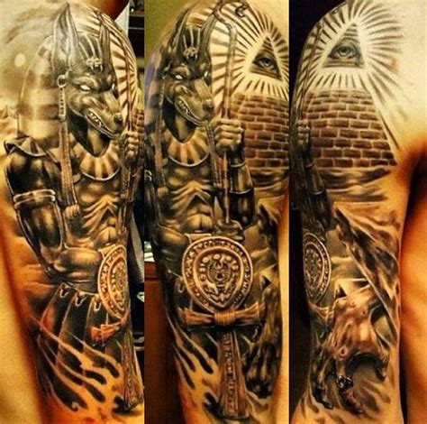 egyptian tattoos sleeves stunning detailed colored half sleeve of