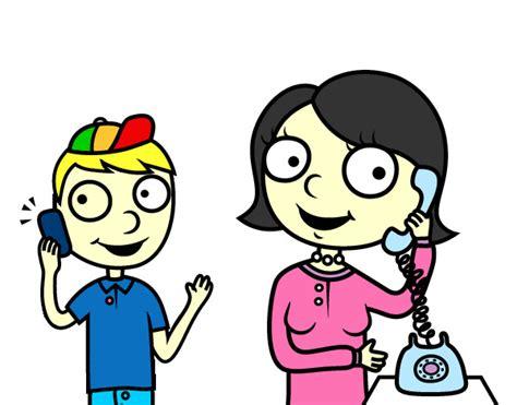 imagenes infantiles hablando dibujo de madre hablando por tel 233 fono pintado por magdalen