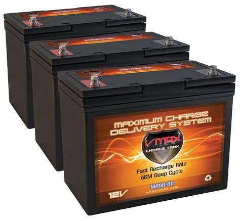 cycle battery for trolling motor qty 3 vmax mr96 agm cycle marine battery ideal for