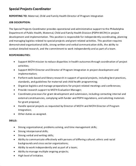 layout coordinator job description sle project coordinator job description 8 exles