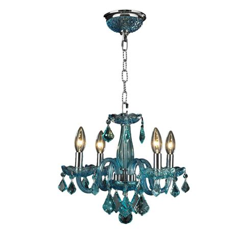 Chandelier Home Depot by Worldwide Lighting Clarion 4 Light Chrome And Coral Blue Chandelier N The Home Depot