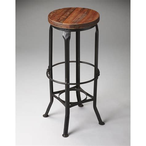Iron Bar Stool With Wood Seat by Butler Iron Recycled Wood Seat Backless Bar Stool Bar