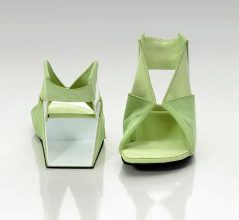 Shoe Origami - flat folded shoe is like easy origami yanko design