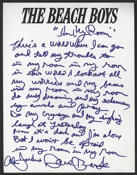 in the boys room lyrics lot detail boys handwritten signed quot in my room