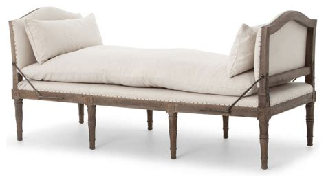 french country chaise lounge sabine french country natural linen and weathered oak