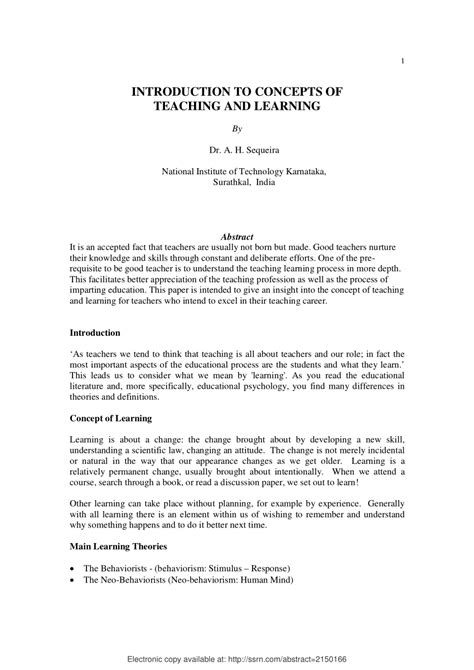 (PDF) INTRODUCTION TO CONCEPTS OF TEACHING AND LEARNING