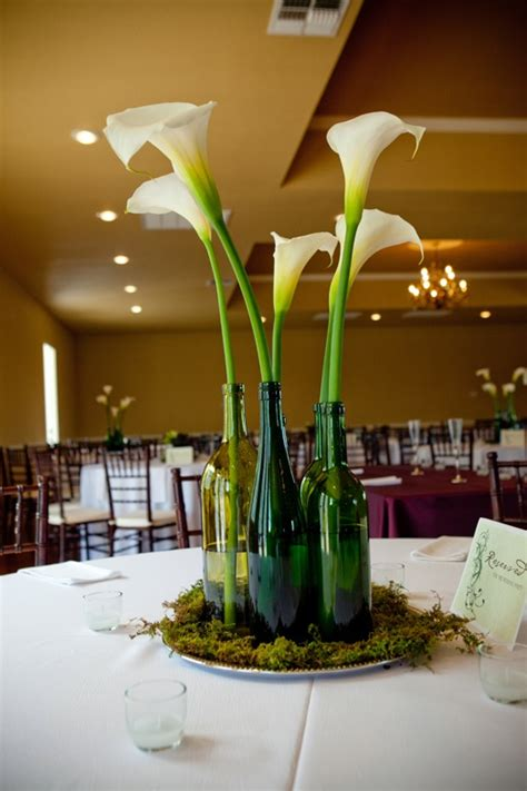 wedding centerpieces with green wine bottleswedwebtalks