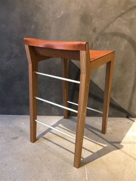 Cognac Leather Counter Stool by Lincoln Counter Height Stool By Asher Israelow In Oak