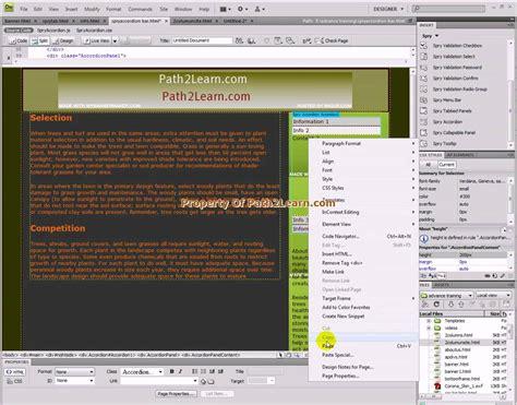 dreamweaver tutorial basic dreamweaver simple spry menu accordion panel tutorial
