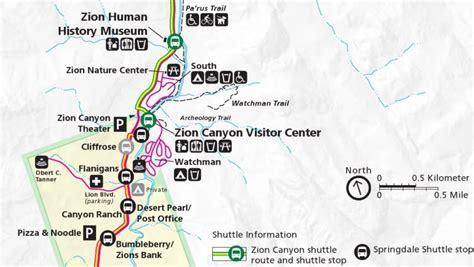 zion park map zion national park cing guide park ranger