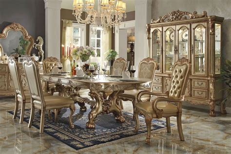 fancy dining room furniture dresden gold formal dining table set