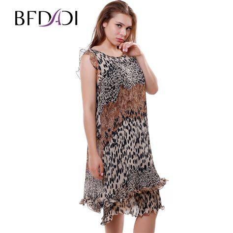 Dress Murah Dress Motif Murah bfdadi new 2016 summer leopard pattern pleated dress s sleeveless small flounced hem