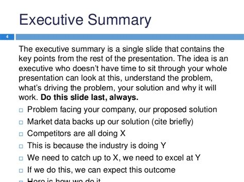 Mba Study Presentation Format by Pics For Gt Executive Summary Template Powerpoint